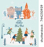 merry christmas and happy new... | Shutterstock .eps vector #744250939