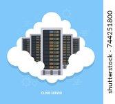 cloud node data center... | Shutterstock .eps vector #744251800