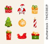 winter holidays icons... | Shutterstock .eps vector #744253819