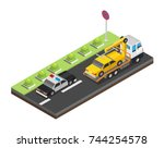 isometric tow truck city road... | Shutterstock .eps vector #744254578