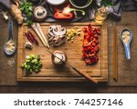 copped vegetables ingredients... | Shutterstock . vector #744257146