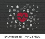 medicine concept  painted red...   Shutterstock . vector #744257503