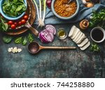vegetarian ingredients for...   Shutterstock . vector #744258880