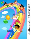 children ride on the rainbow  | Shutterstock . vector #744259570