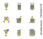 vector illustration of 9 drinks ... | Shutterstock .eps vector #744260170