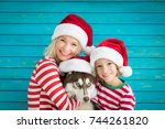 happy mother  child and dog on... | Shutterstock . vector #744261820