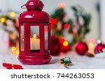 red christmas lantern with... | Shutterstock . vector #744263053