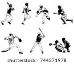 baseball players set   sketch... | Shutterstock .eps vector #744271978