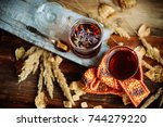 floral herbal tea in a glass...   Shutterstock . vector #744279220