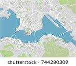 vector city map of hong kong... | Shutterstock .eps vector #744280309
