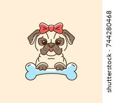 pug icon cartoon face dog with... | Shutterstock .eps vector #744280468
