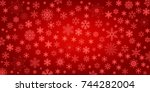 red snowflake background  ... | Shutterstock .eps vector #744282004