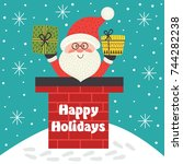 holiday card with santa claus... | Shutterstock .eps vector #744282238