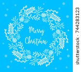 christmas and new year greeting ... | Shutterstock .eps vector #744283123