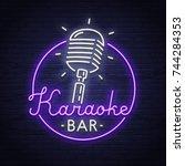 karaoke neon sign. neon sign.... | Shutterstock .eps vector #744284353