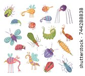 collection of cute beetles and... | Shutterstock .eps vector #744288838