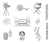 a set of sketches of cinema.... | Shutterstock .eps vector #744291544