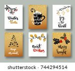 christmas  cards  and gift tags ... | Shutterstock .eps vector #744294514
