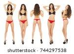 collage sexy women. full length ... | Shutterstock . vector #744297538