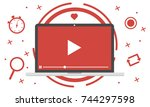 video marketing   modern video... | Shutterstock .eps vector #744297598