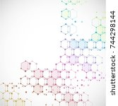 molecular structure with... | Shutterstock .eps vector #744298144