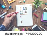 plan 2018 message with male... | Shutterstock . vector #744300220