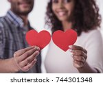 beautiful afro american couple... | Shutterstock . vector #744301348
