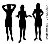vector silhouettes of woman... | Shutterstock .eps vector #744302014