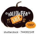 halloween sale background with... | Shutterstock .eps vector #744302149