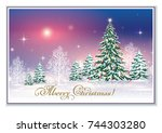 christmas card with christmas... | Shutterstock .eps vector #744303280