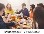 friends meeting. group of happy ... | Shutterstock . vector #744303850