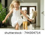 excited children running on... | Shutterstock . vector #744304714