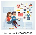 man and woman doing online... | Shutterstock .eps vector #744305968