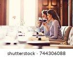 romantic couple dating in... | Shutterstock . vector #744306088