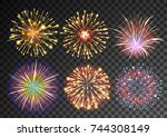 fireworks isolated against... | Shutterstock .eps vector #744308149