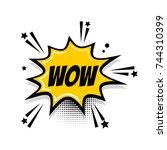 lettering wow  boom. comics... | Shutterstock . vector #744310399