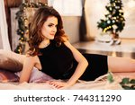 fashion portrait of model girl... | Shutterstock . vector #744311290