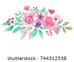 watercolor flower bouquet pink... | Shutterstock . vector #744312538
