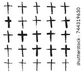 christian crosses. collection... | Shutterstock .eps vector #744319630