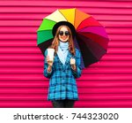 fashion pretty young smiling... | Shutterstock . vector #744323020