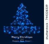 vector christmas tree from... | Shutterstock .eps vector #744328339