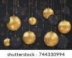 vector modern christmas or 2018 ...   Shutterstock .eps vector #744330994