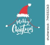 merry christmas caption in red... | Shutterstock .eps vector #744332263