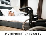 the disabled person sleeps. in... | Shutterstock . vector #744333550
