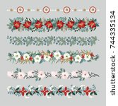 set of christmas borders ... | Shutterstock .eps vector #744335134