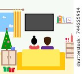 family sitting on sofa front of ... | Shutterstock .eps vector #744335914