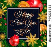 happy new year handwritten text | Shutterstock .eps vector #744335953
