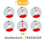 christmas santa set. santa... | Shutterstock .eps vector #744336109