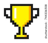 pixel art golden cup award... | Shutterstock . vector #744336508