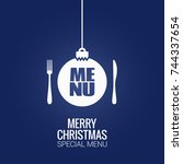 christmas menu with christmas... | Shutterstock .eps vector #744337654